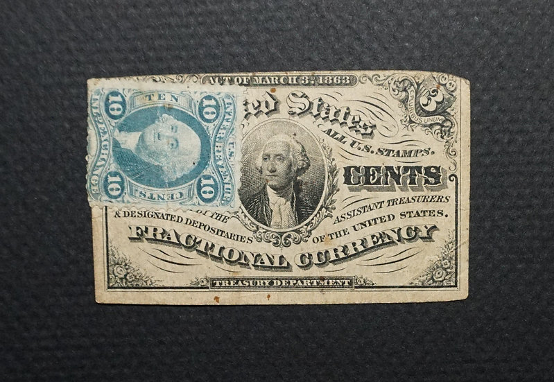 Fr 1226 3¢ Fractional Currency Third Issue with Revenue Stamp