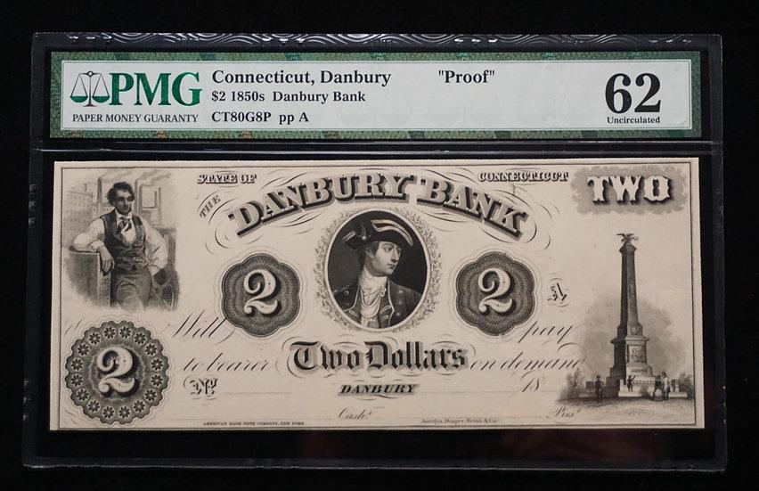 $2 Danbury Bank, Danbury, CT - CT80G8p Proof PMG62