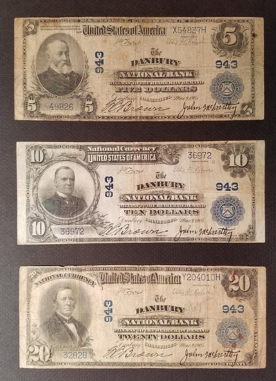 $5, $10, $20 The Danbury National Bank, Danbury CT Charter #943 Full Set