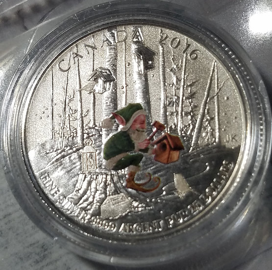 $25 2016 Canadian .9999 silver pure coin - Elf building a birdhouse