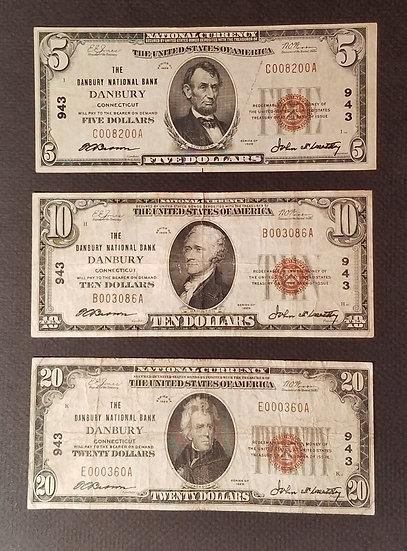 $5, $10, $20 The Danbury National Bank, Danbury Charter #943 Type I Full Set