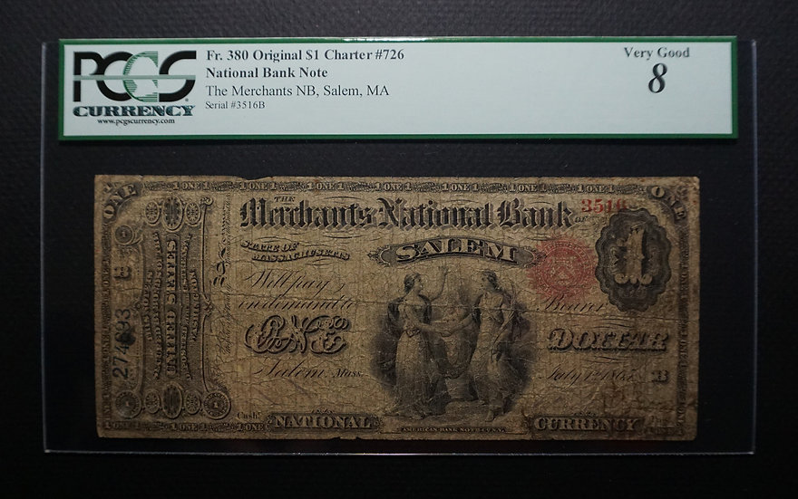 $1 Merchants National Bank, Salem, MA  - Charter #726 PCGS VG8