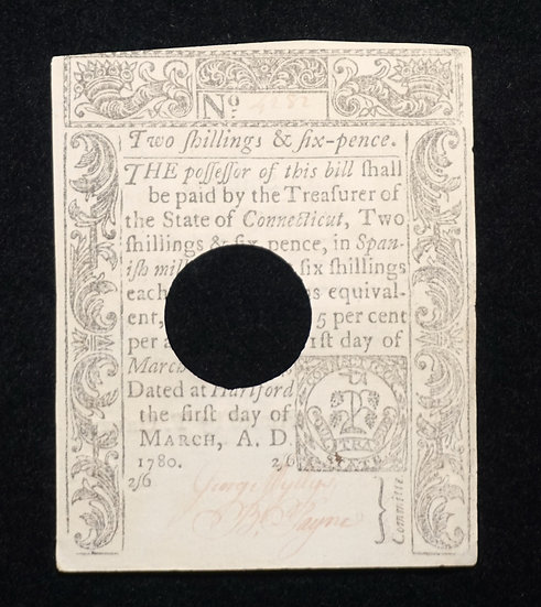 March 1, 1780 Connecticut 2 Shilling 6 Pence Note CT-221