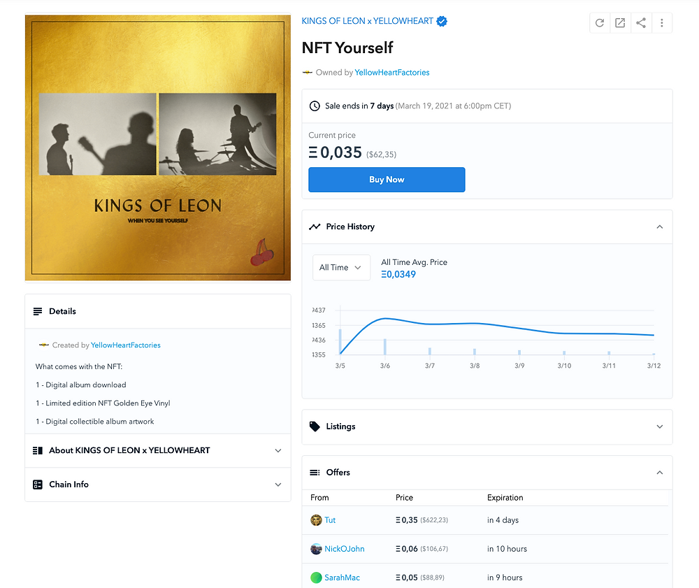 kings of leon yourself nft musica criptomonedas bitcoin ethereum blockchain