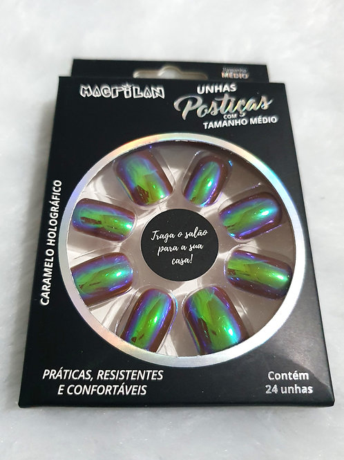 Unhas Postiças Tamanho Médio Macrilan - Caramelo Holográfico