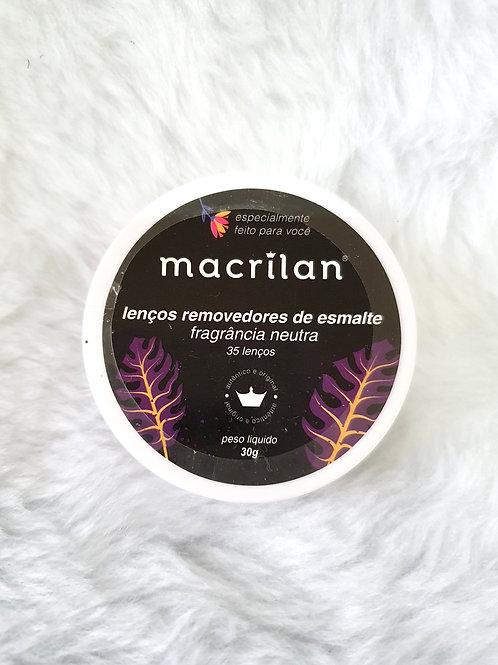 Lenço Removedor de Esmalte Macrilan - Fragrância Neutra