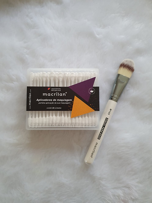 Aplicador de Maquiagem + Pincel para Base Macrilan