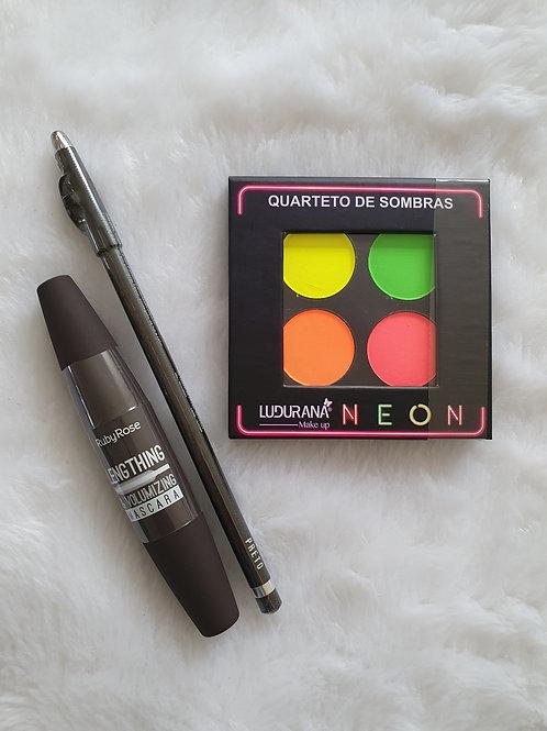 Quarteto Neon Ludurana + Lápis com apontador Ruby Rose+ Rimel Ruby Rose