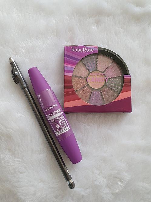 Mini Paleta + Lápis com apontador + Rimel Ruby Rose