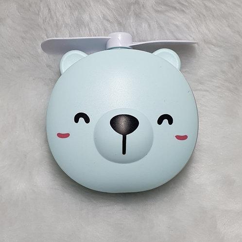 Mini Espelho Led e Ventilador Portátil Ursinho 3 em 1