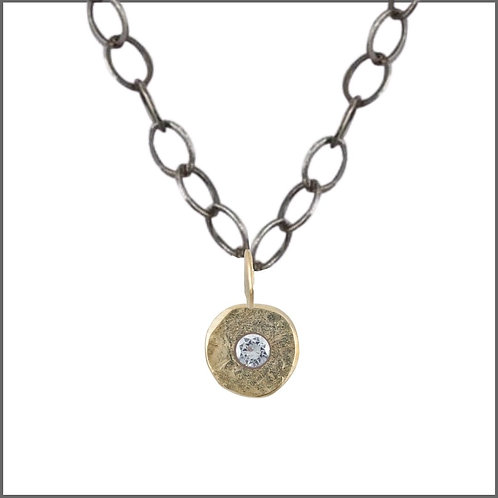 Gold & Diamond Single Spondylus Pendant