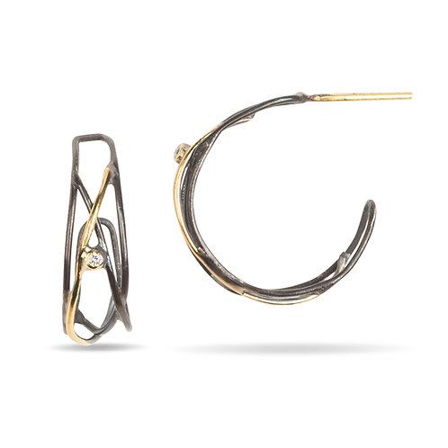 Hoop Earrings, 18K Gold, Sterling Silver, Diamond