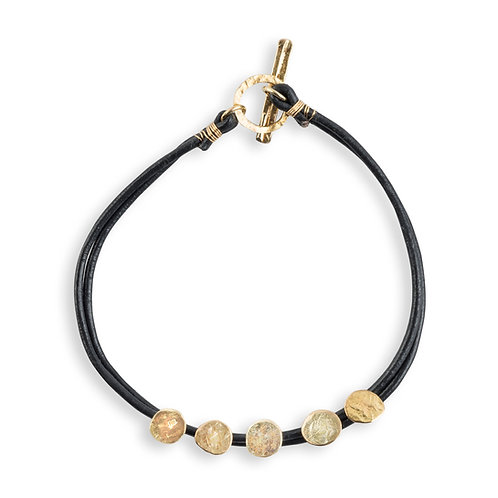 Gold and Leather Money Bracelet