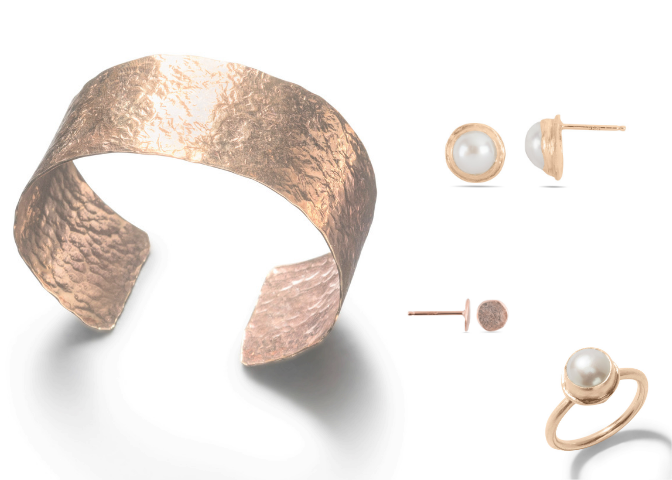 Cuff, Earrings and Ring in Rose Gold