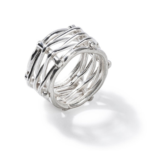 Silver Ring, woven metal