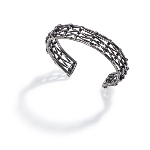 Woven Silver Cuff bracelet in dark, oxidized silver.