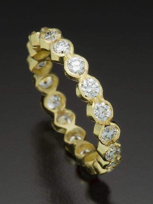 18K Yellow Gold Handmade Eternity Band with Diamonds