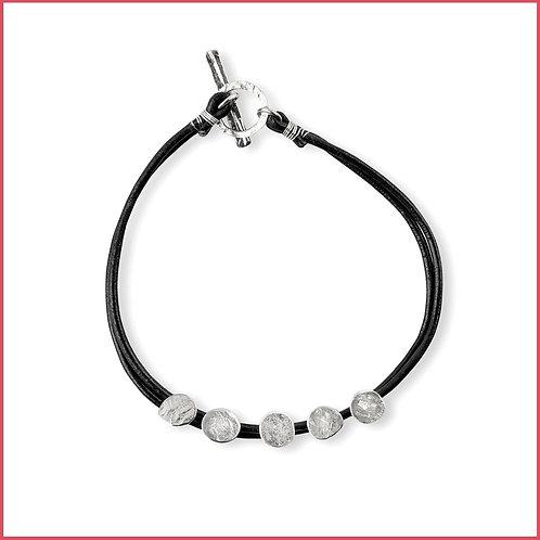 Silver Spondylus Bracelet on Leather