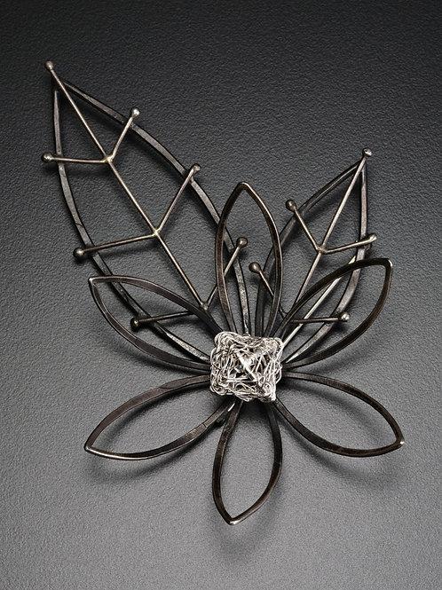 Lotus Blossom Silver Brooch Pin