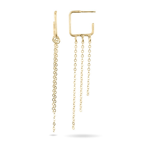 Square outlines of gold make the top of an this pair of earrings.  Three pieces of chain dangle underneath.