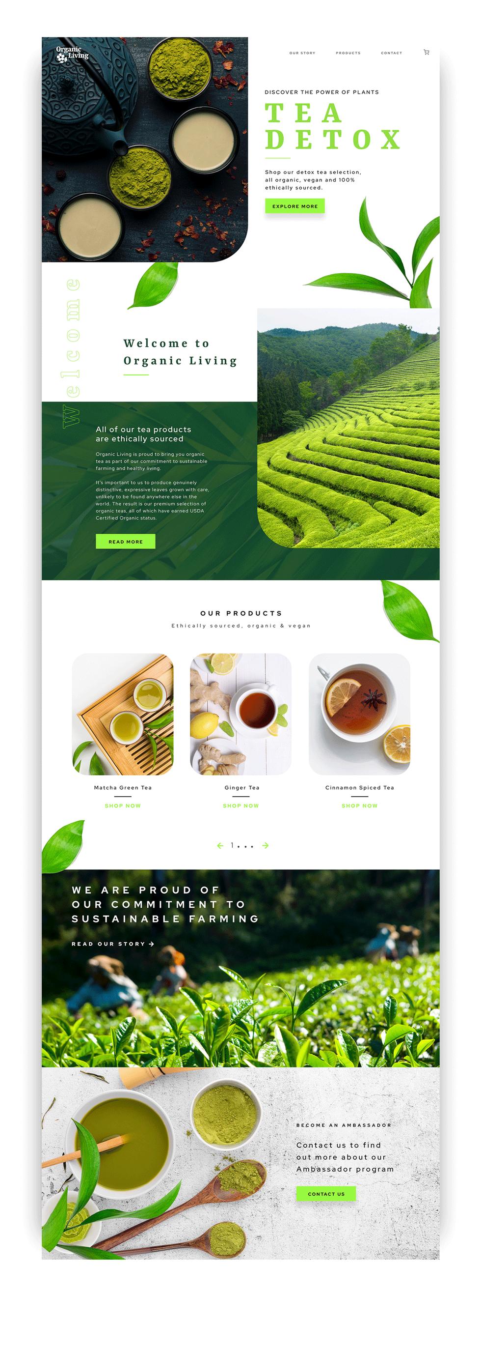 Tea detox website design