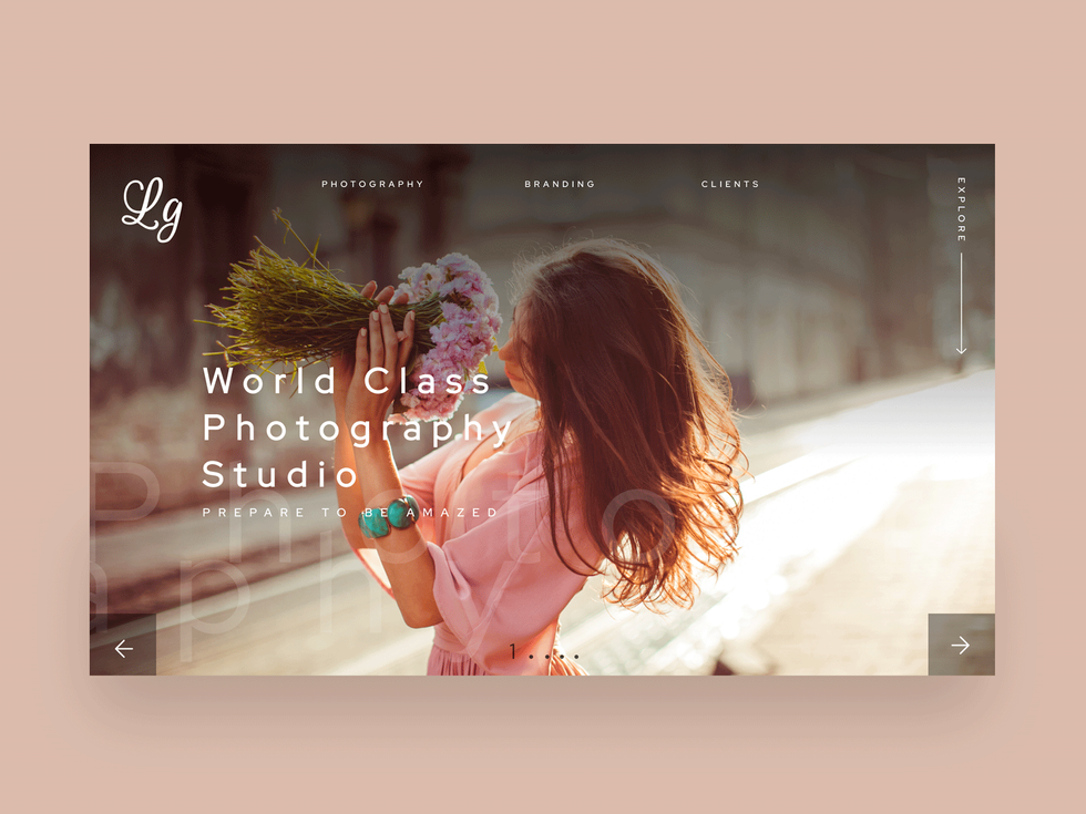 Fashion photography landing page
