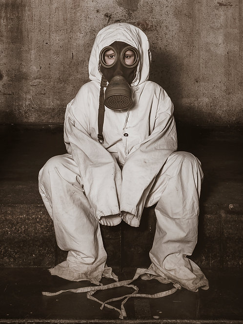 The boy with the gas mask