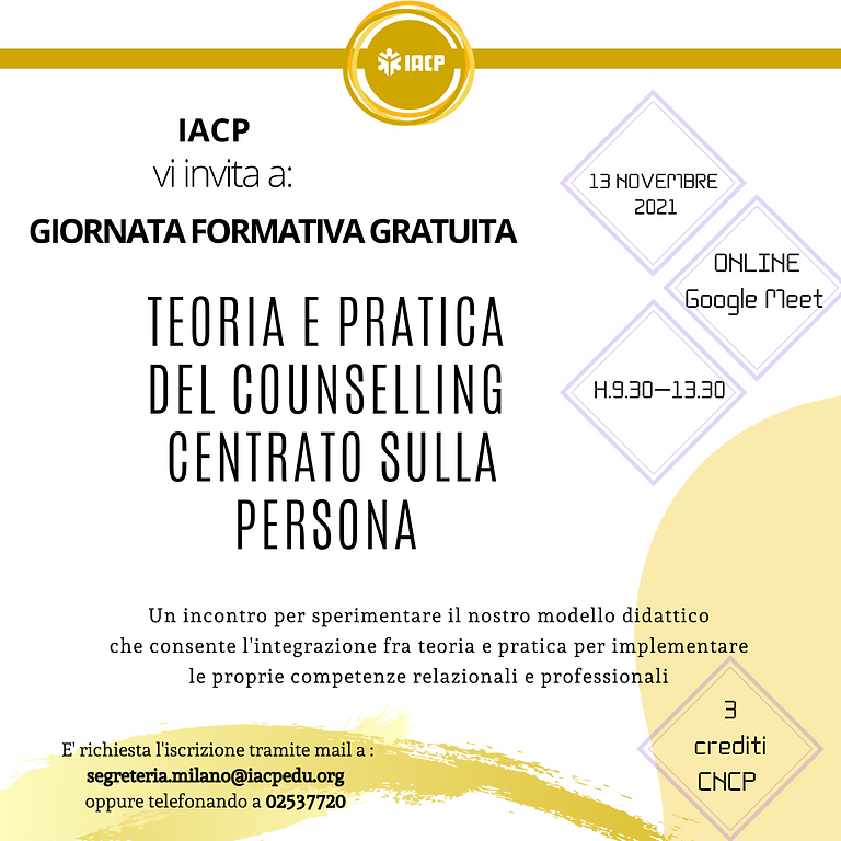 Giornata formativa: TEORIA E PRATICA DEL COUNSELLING CENTRATO SULLA PERSONA