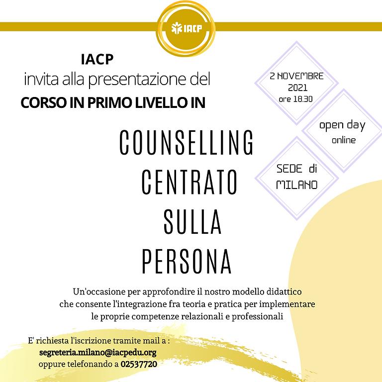OPEN DAY ONLINE Corso di Counselling Centrato sulla Persona SEDE DI MILANO