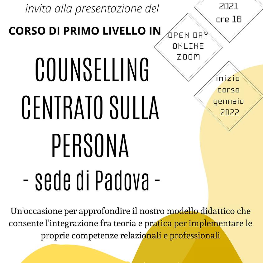 Open Day Online Corso di primo livello in Counselling Centrato sulla Persona - SEDE DI PADOVA -