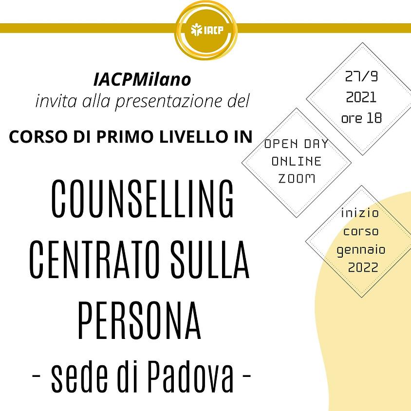 Open day Online Corso di primo livello in Counselling Centrato sulla Persona -SEDE DI PADOVA-