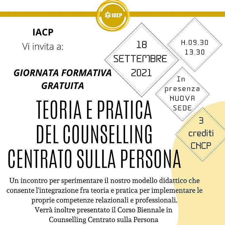 GIORNATA FORMATIVA GRATUITA: Teoria e pratica del Counselling Centrato sulla Persona