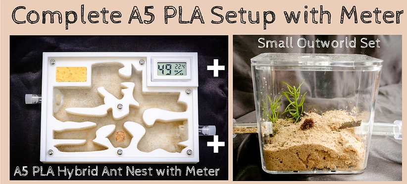 Complete A5 PLA Ant Setup Hybrid Nest with Meter and Outworld Formicarium Farm