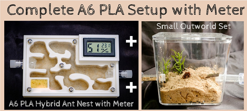 Complete A6 PLA Ant Setup Hybrid Nest with Meter and Outworld Formicarium Farm