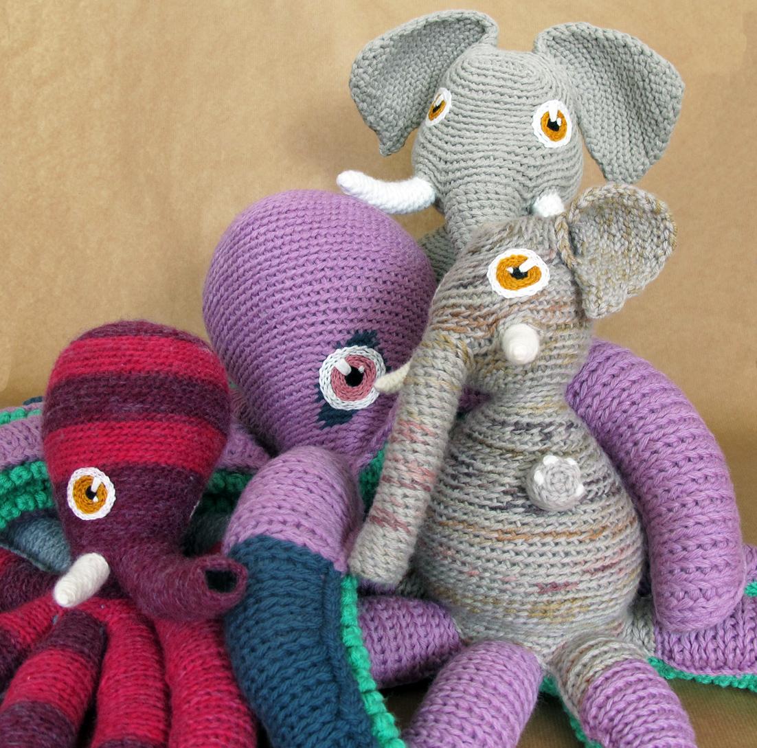 Poulpe et éléphant en crochet + bébé