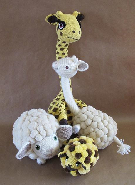 Girafe et moutons en crochet + bébés