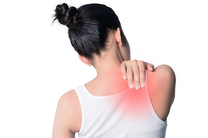 asian women muscle aches. she touches th