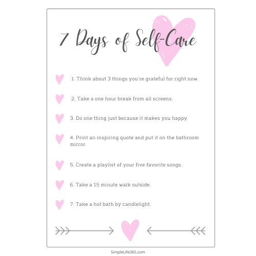 7 Das of Self-Care Activities