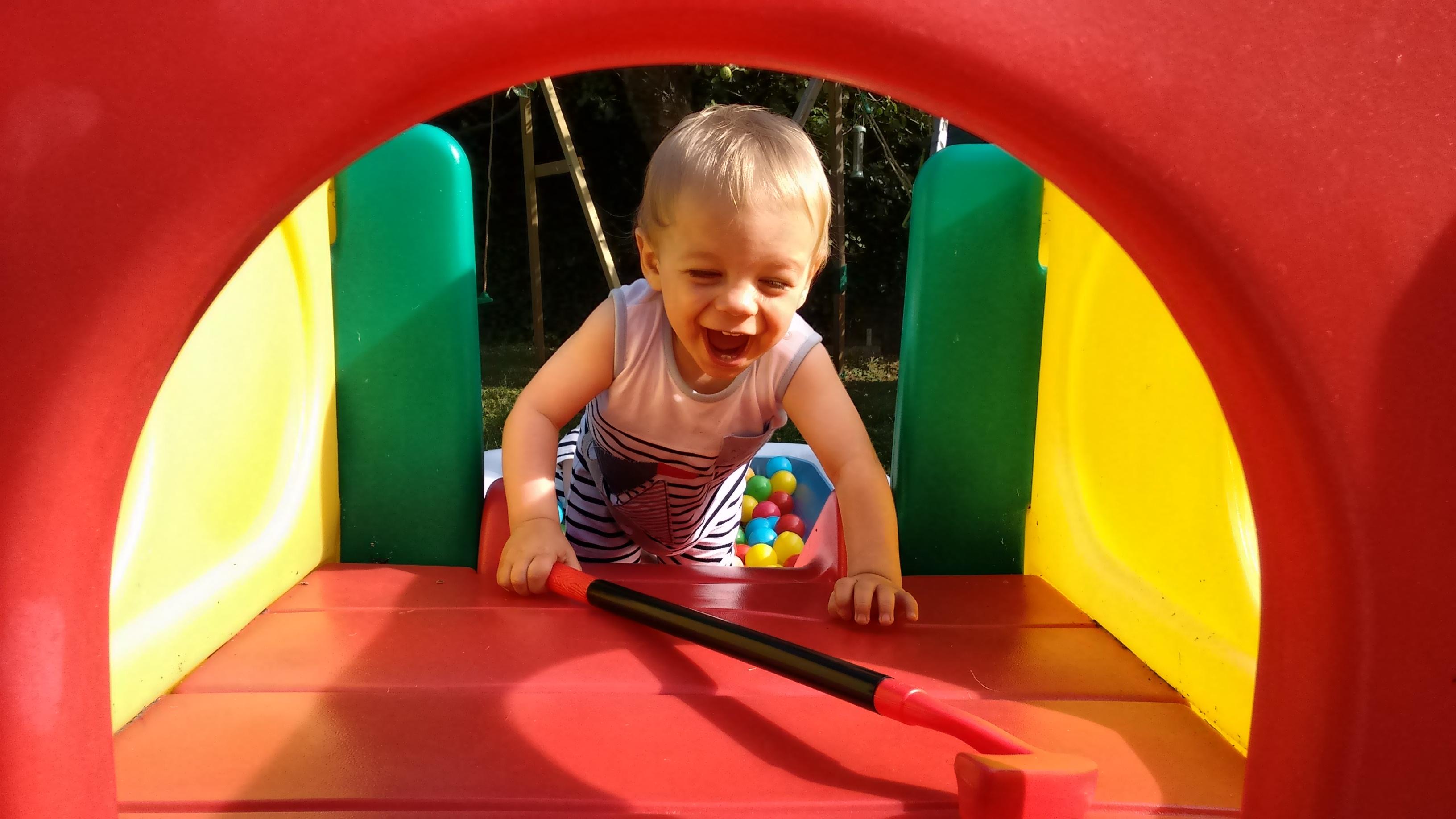 Climbing up a slide