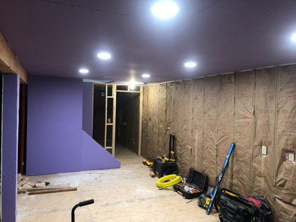 drywall and insulation + LED lights in basement reno