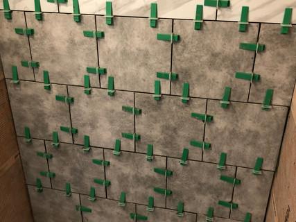 In progress tile shower