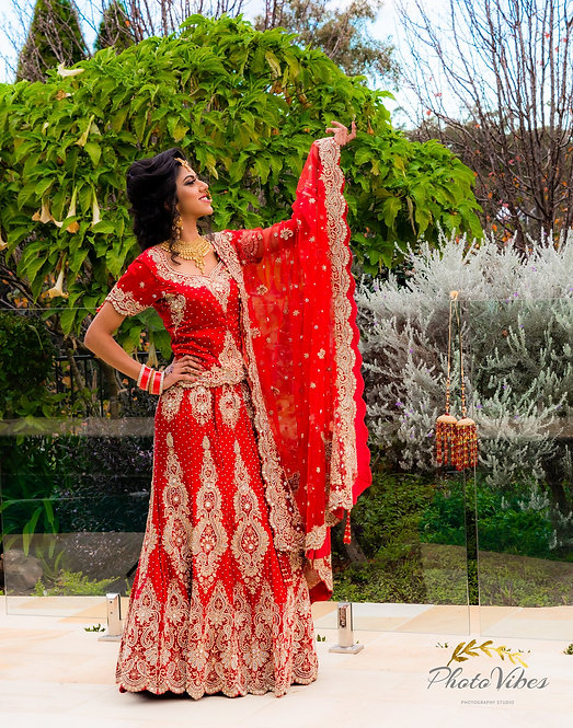 Bright Red Bridal Lengha