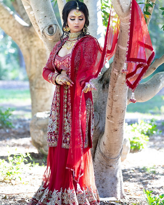 Red 3 Piece Bridal Lengha