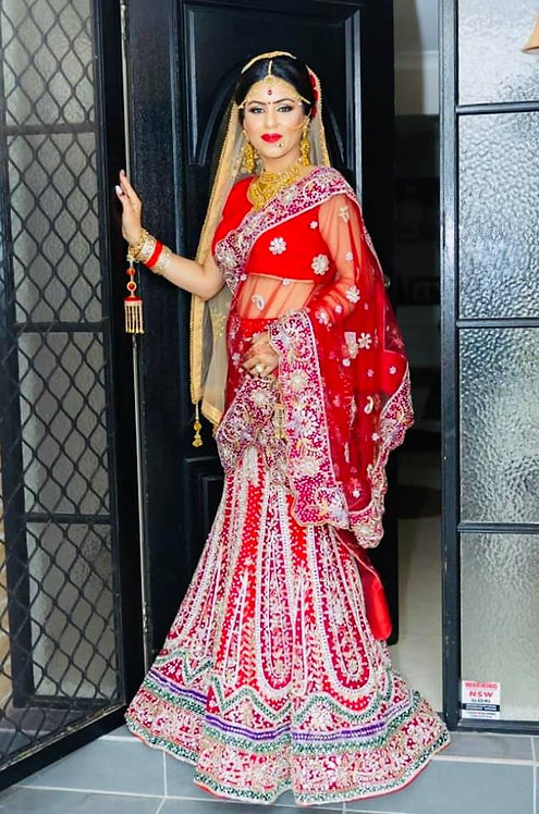 Red Lengha Gota Patti Handwork