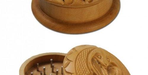 grinder di legno Shisham 'Schlange' in 2 parti. scolpito