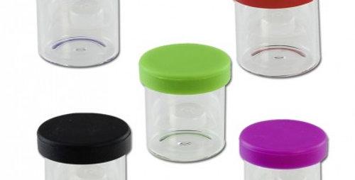 Barattolo in vetro trasparente con coperchio in silicone 10ml