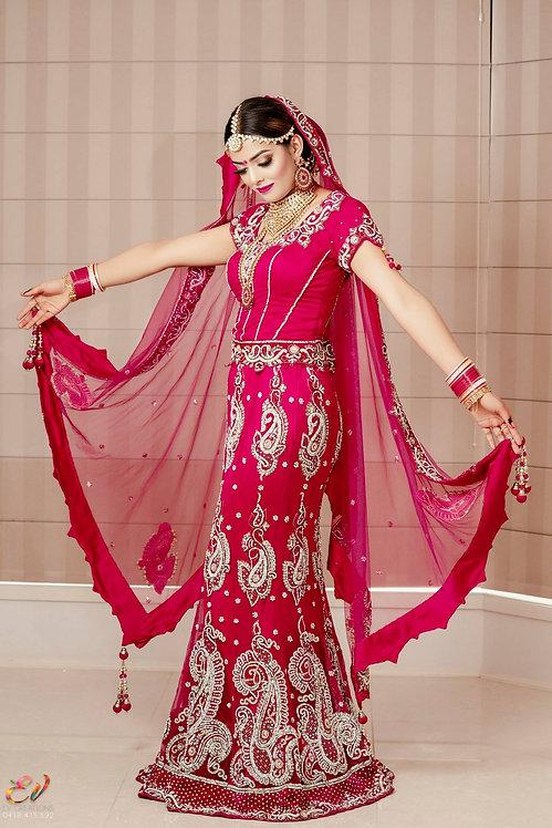 Magenta Pink Bridal Lengha