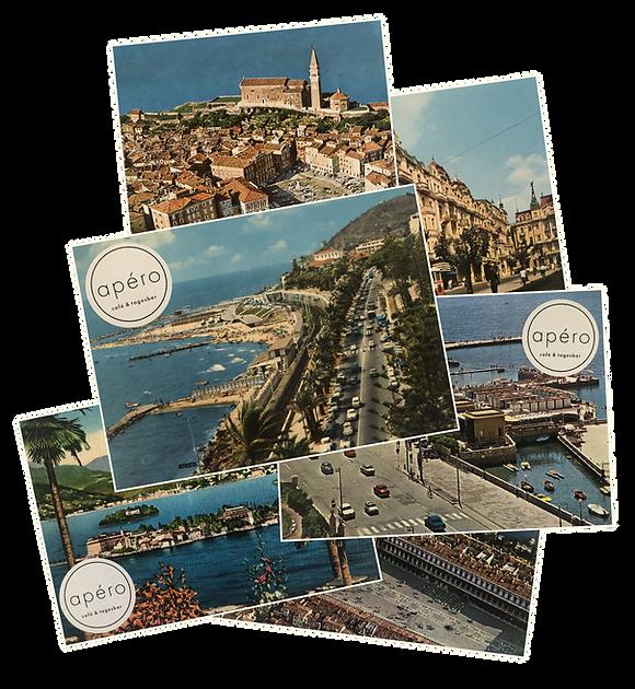 Urlaubs-Postkarten mit apero Logo