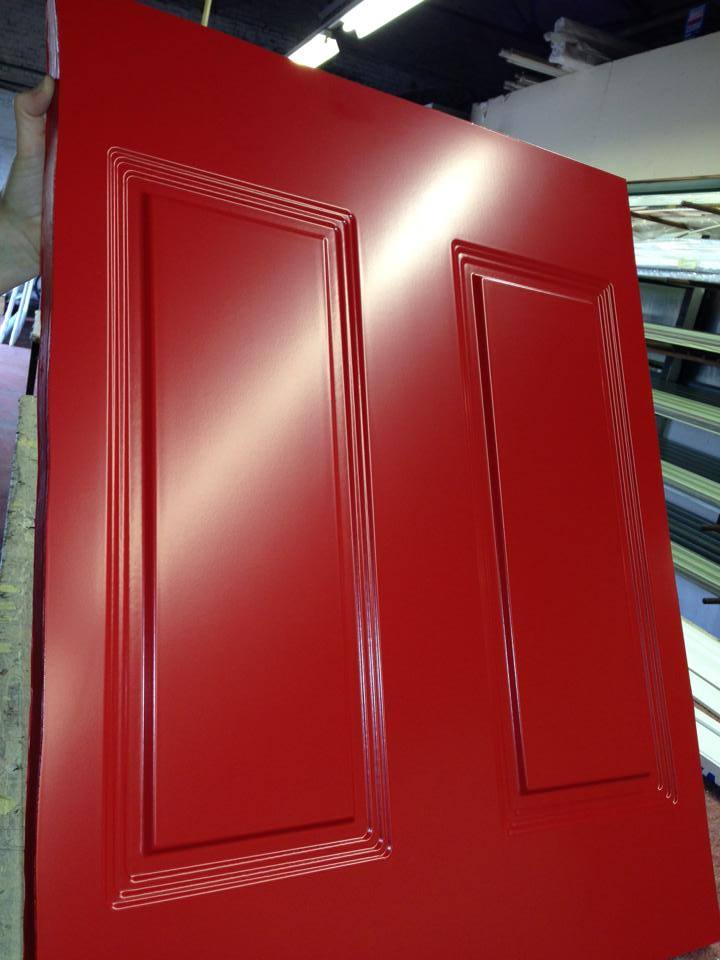Close Up Red Coloured PVCU Door