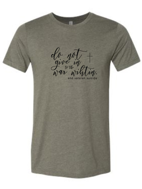 Do Not Give In Script Tee Green